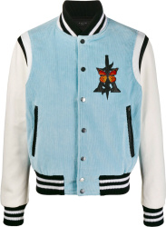 Butterfly Embroidered Light Blue Varsity Jacket