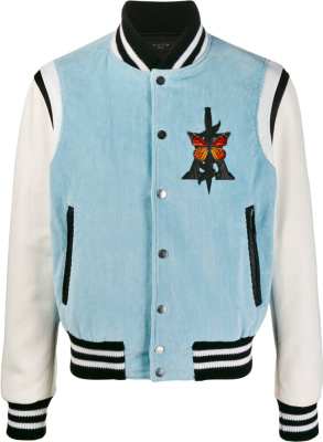 Amiri Light Blue Corduroy Varsity Jacket