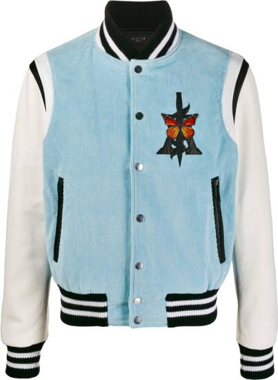 Amiri Light Blue Corduroy Varsity Jacket