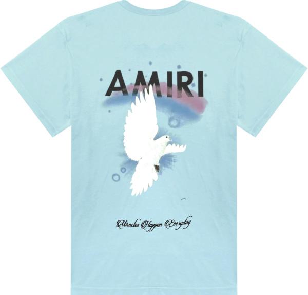 Amiri Light Blue Dove Rainbow Print T Shirt