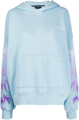 Amiri Light Blue Palm Tree Print Hoodie