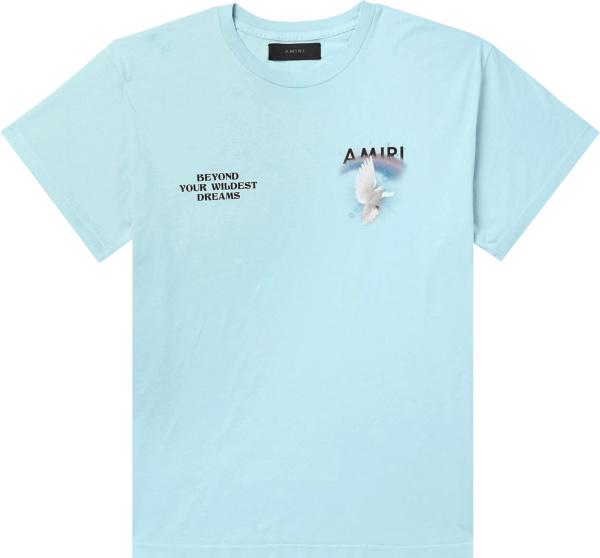 Amiri Light Blue Rainbow Dove T Shirt