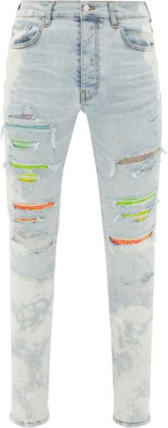 Amiri Light Indigo And Rainbow Crystal Jeans