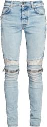 Amiri Light Indigo And White Bandana Mx2 Biker Jeans