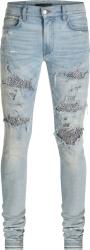 Amiri Light Indigo And Zebra Sequin Underpatch Jeans
