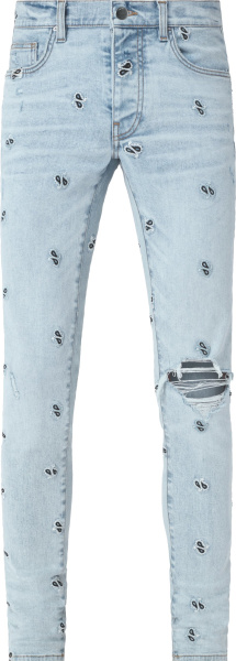Amiri Light Vintage Indigo And Allover Embroidered Paisley Broken Jeans