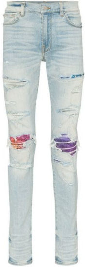 Amiri Light Wash Ripped Jeans With Purple Red And Blue Under Patches Worn By Lil Baby