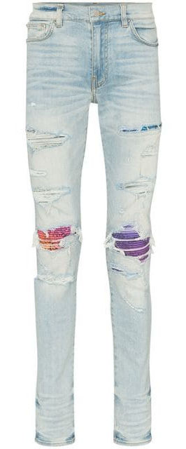 Amiri Rainbow Underpatch Light Wash Jeans Incorporated Style