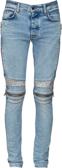 Amiri Light Wash White Bandana Zip Detail Biker Mx2 Jeans