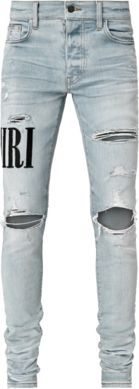Amiri Logo Embroidered Distressed Light Jeans