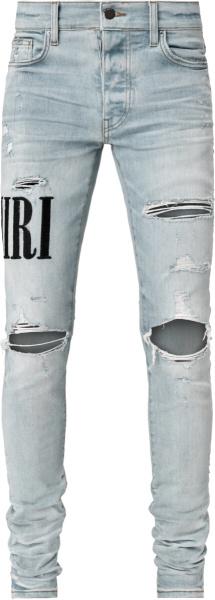 Amiri Logo Embroidered Distressed Light Jeans