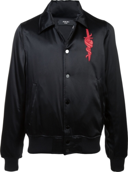 Amiri 'lover' Patch Black Bomber Jacket