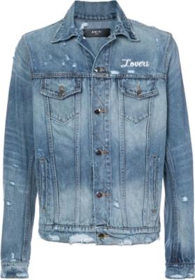 Amiri Lovers Embroidered Blue Denim Jacket