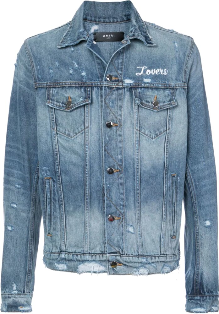 Amiri Lovers Embroidered Blue Denim Jacket