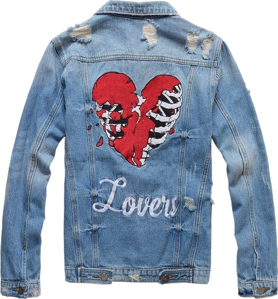 'Lovers' Embroidered Blue Denim Jacket