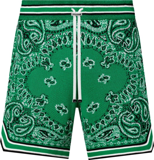 Amiri Men Green Bandana Print Shorts