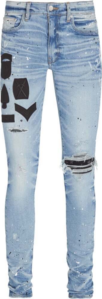 Amiri Military Patch Paint Splatter Jeans