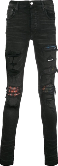 Amiri Multicolor Underpatch Distressed Black Skinny Jeans