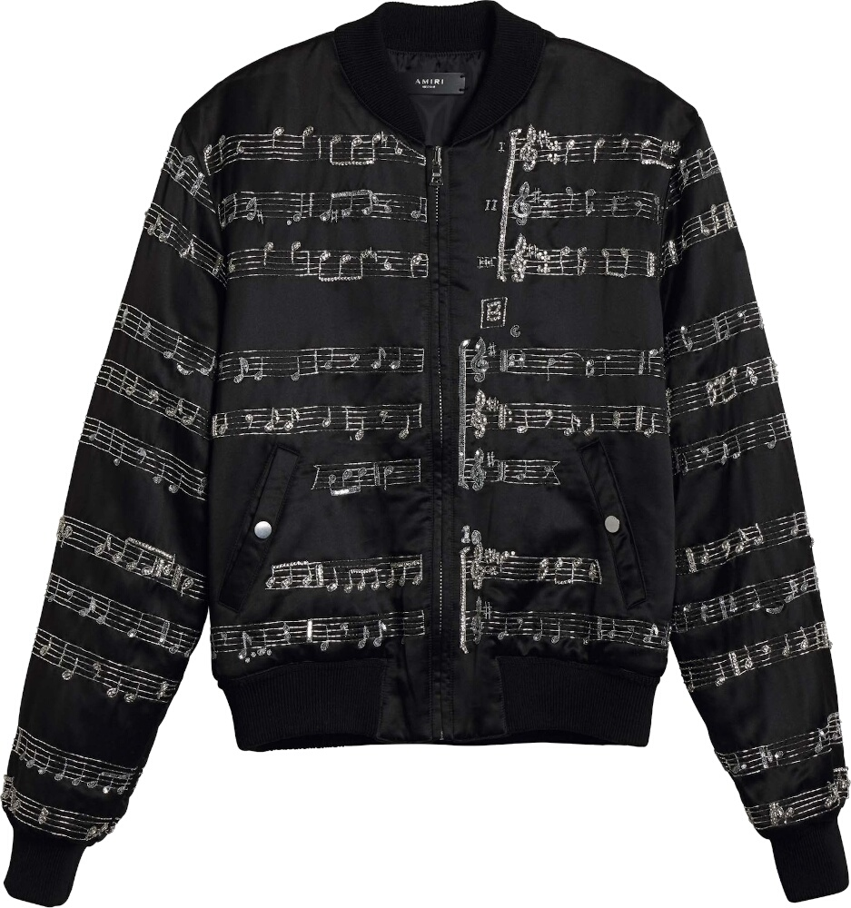Amiri Music Note Embroidered Black Bomber Jacket