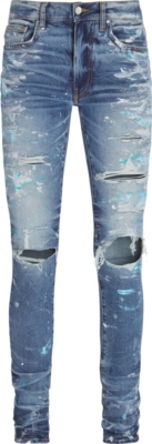 Amiri Paint Splatter Blue Jeans