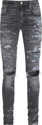 Amiri Paint Splatter Destroyed Black Skinny Jeans
