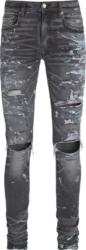 Amiri Paint Splatter Destroyed Black Skinny Jeans