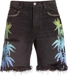 Palm Print Black Denim Shorts