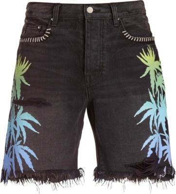 Amiri Palm Print Black Denim Shorts