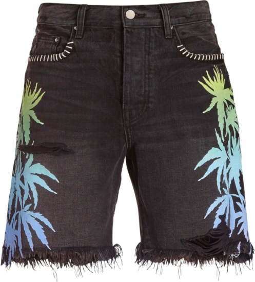 Amiri Palm Print Black Denim Shorts