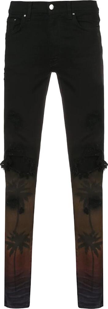 Amiri Palm Tree Print Black Jeans