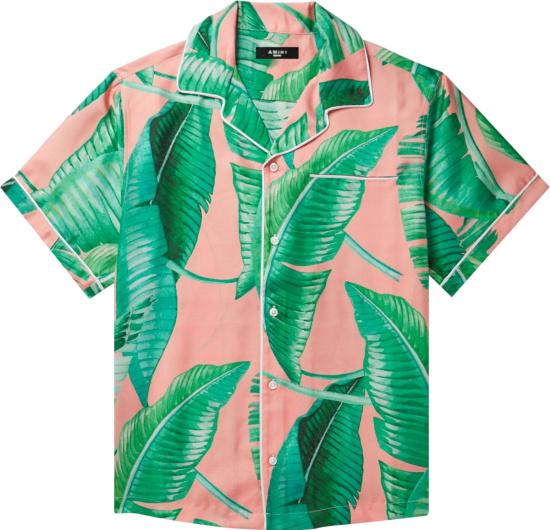 Amiri Pink And Green Banana Leaf Shirt