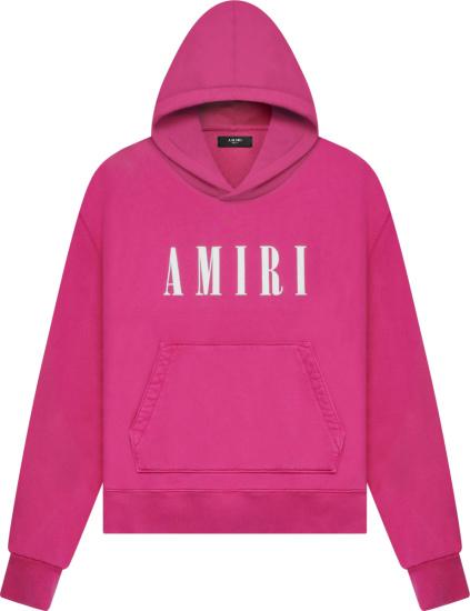 Amiri Pink Core Logo Print Hoodie