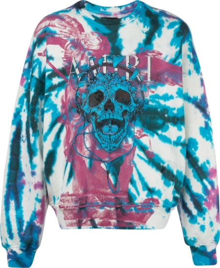 Amiri Purple And Blue Tie Dye Skull Print Sweatshirt