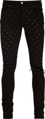 Amiri Rainbow Crystal Embellished Black Jeans