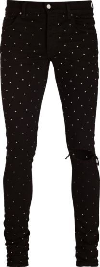 Amiri Rainbow Crystal Embellished Black Jeans