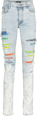 Amiri Rainbow Crystal Underpatch Bleached Jeans