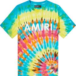 Amiri Rainbow Tie Dye Logo Print T Shirt