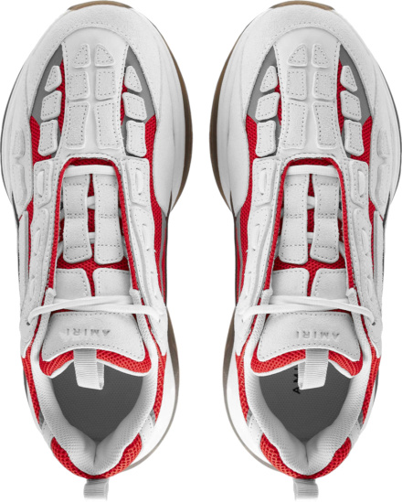 Amiri Red And White Low Top Skeleton Sneakers