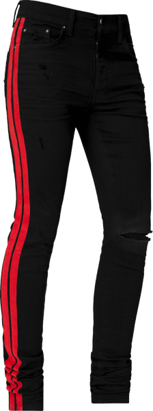 Amiri Red Black Flock Track Jeans