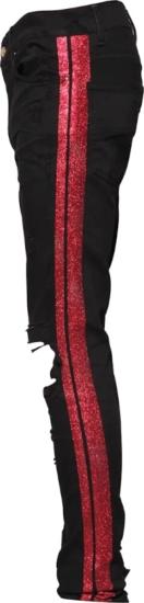 Amiri Red Glitter Side Stripe Black Jeans