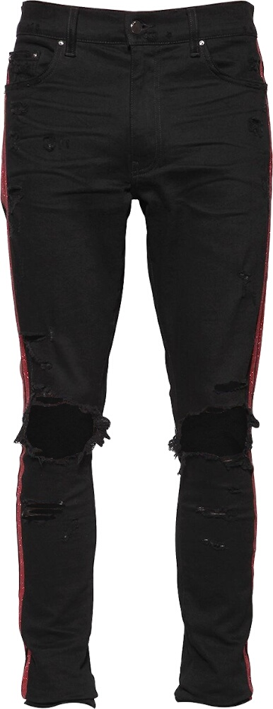 Amiri Red Glitter Stripe Jeans