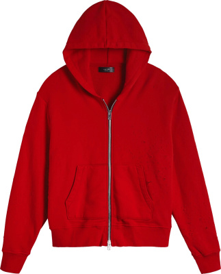 Amiri Red Zip Shotgun Hoodie