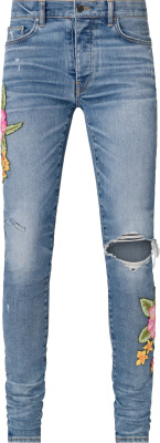 Amiri Rosebown Patch Broken Jeans