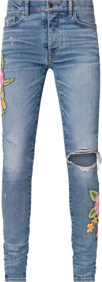 Amiri Rosebown Patch Broken Jeans