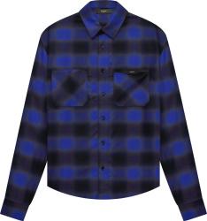 Amiri Royal Blue And Black Flannel Logo Applique Shirt
