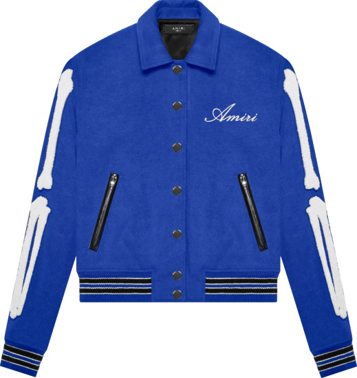 Amiri Royal Blue Skeleton Bones Varsity Jacket