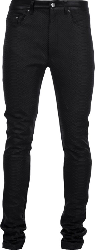 Amiri Snake Embossed Black Leather Pants