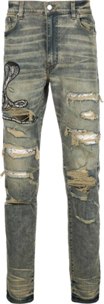 Amiri Snake Patch Tinted Indigo Jeans