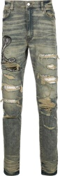 Snake Patch Distressed Tinted Jeans