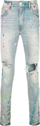 Amiri Super Light Neon Graffiti Paint Splatter Skinny Ripped Jeans